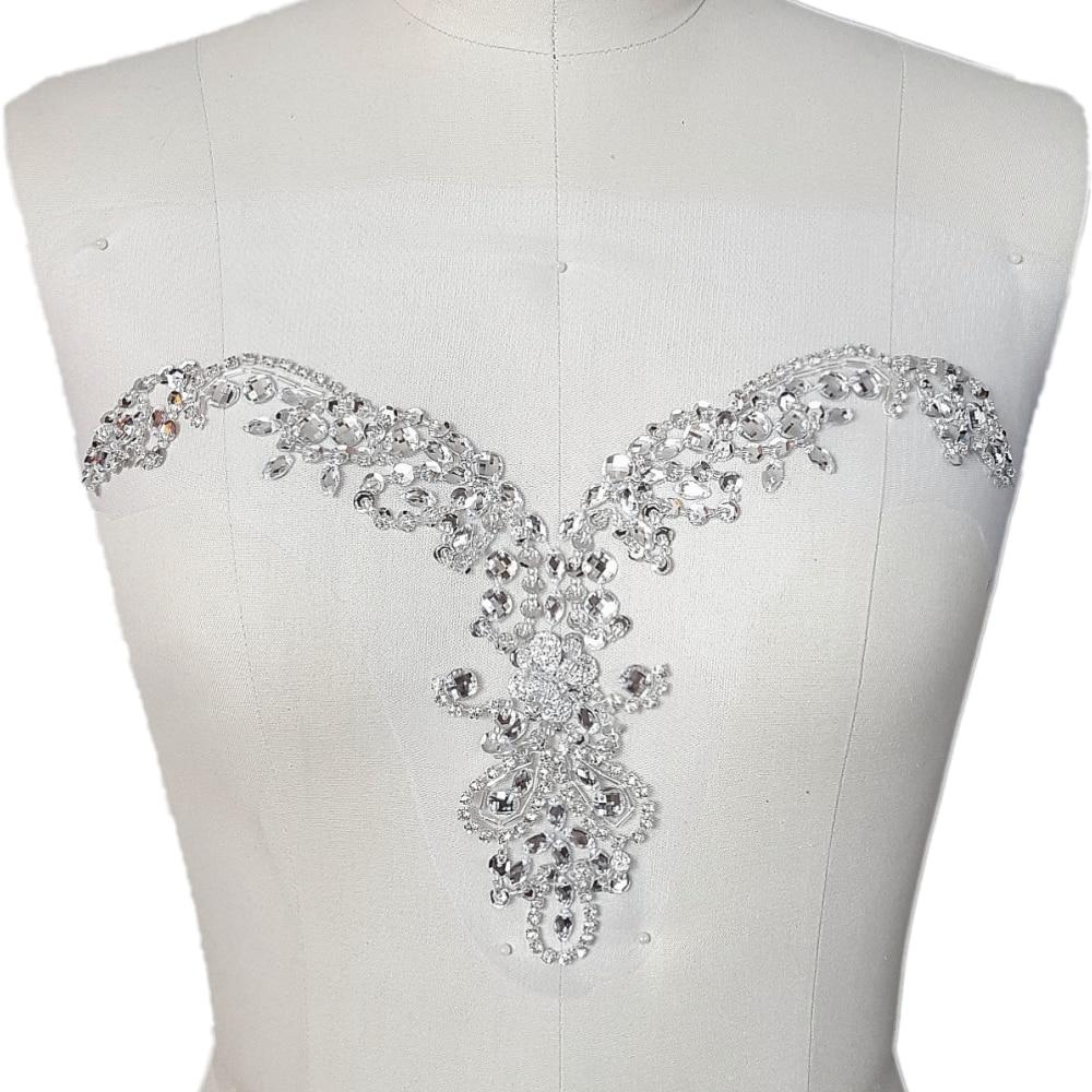 2 X  Lace Applique Stitch On Bridal Dress Motif Trim Rhinestone Crystal Bead #2
