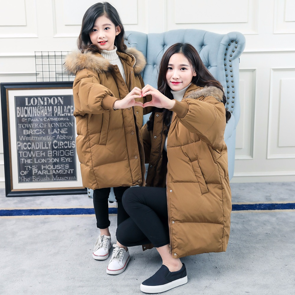 Family Matching Clothing Mother Daughter Winter Down Jacket Kids Long Section Duck Down Hooded Coat Family Look Style matching family clothing set 2015 autumn style winter family look matching mother daughter father son long sleeve sweater set