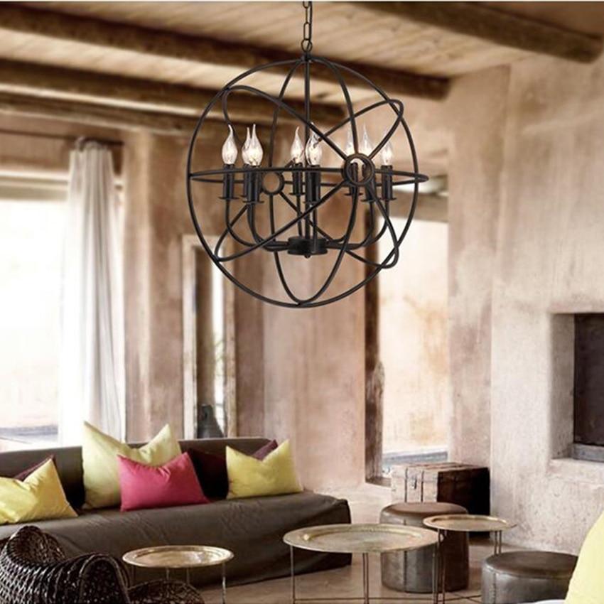 Nordic Loft LED Chandelier Lighting Retro Iron Lampshade Pendant Lamp Living Room Restaurant Bedroom Cafe Decor Wrought Hanglamp