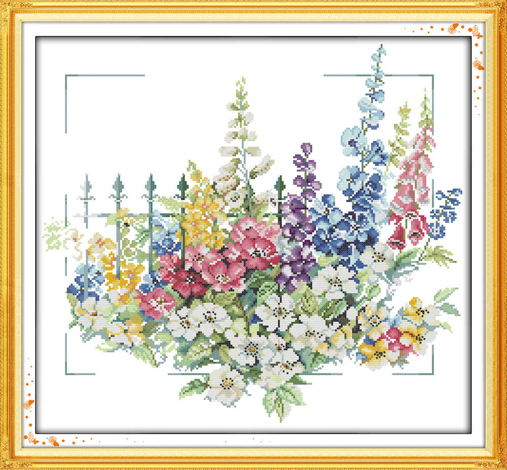 Garden cross stitch kit 14ct 11ct count print canvas stitching embroidery DIY handmade needlework