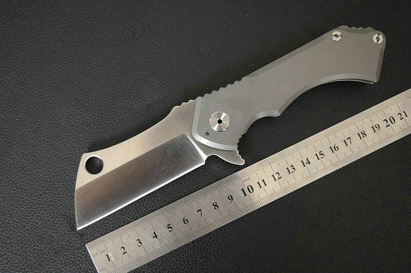 Trskt (100% D2) Field Cleaver Folding Knife TC4 Titanium Handle Ceramics Ball Bearing Survival tool Hunt Pocket Camping Knives  цены