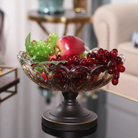 Fashion quality brass Crystal glass Plate luxury fashion home ktv fruit plate decoration candy plate dish European style