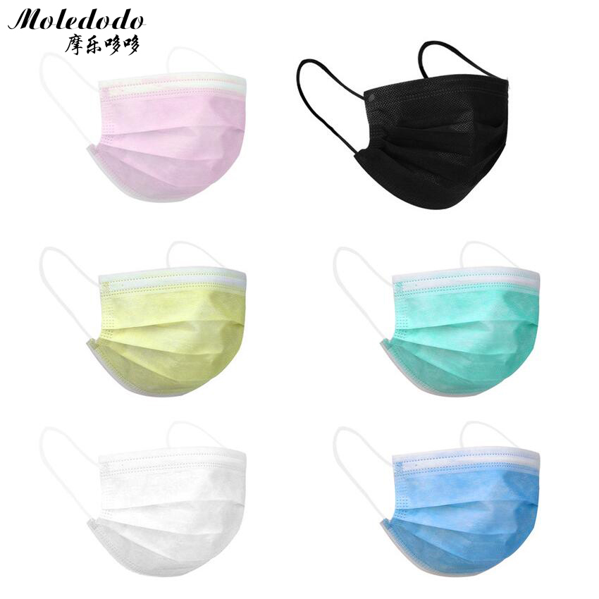 Moledodo 50pcs/bag Disposable Mouth Mask Non-woven Face Mask Anti Dust Mouth Nose Cover Medical Respirators Unisex D25