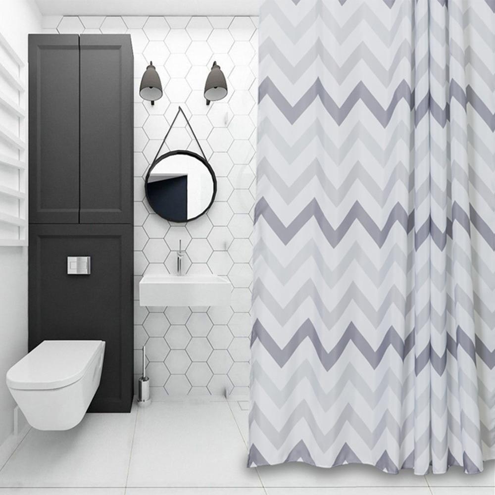 Aimjerry Striped White and Black London Bathtub Bathroom Fabric ...