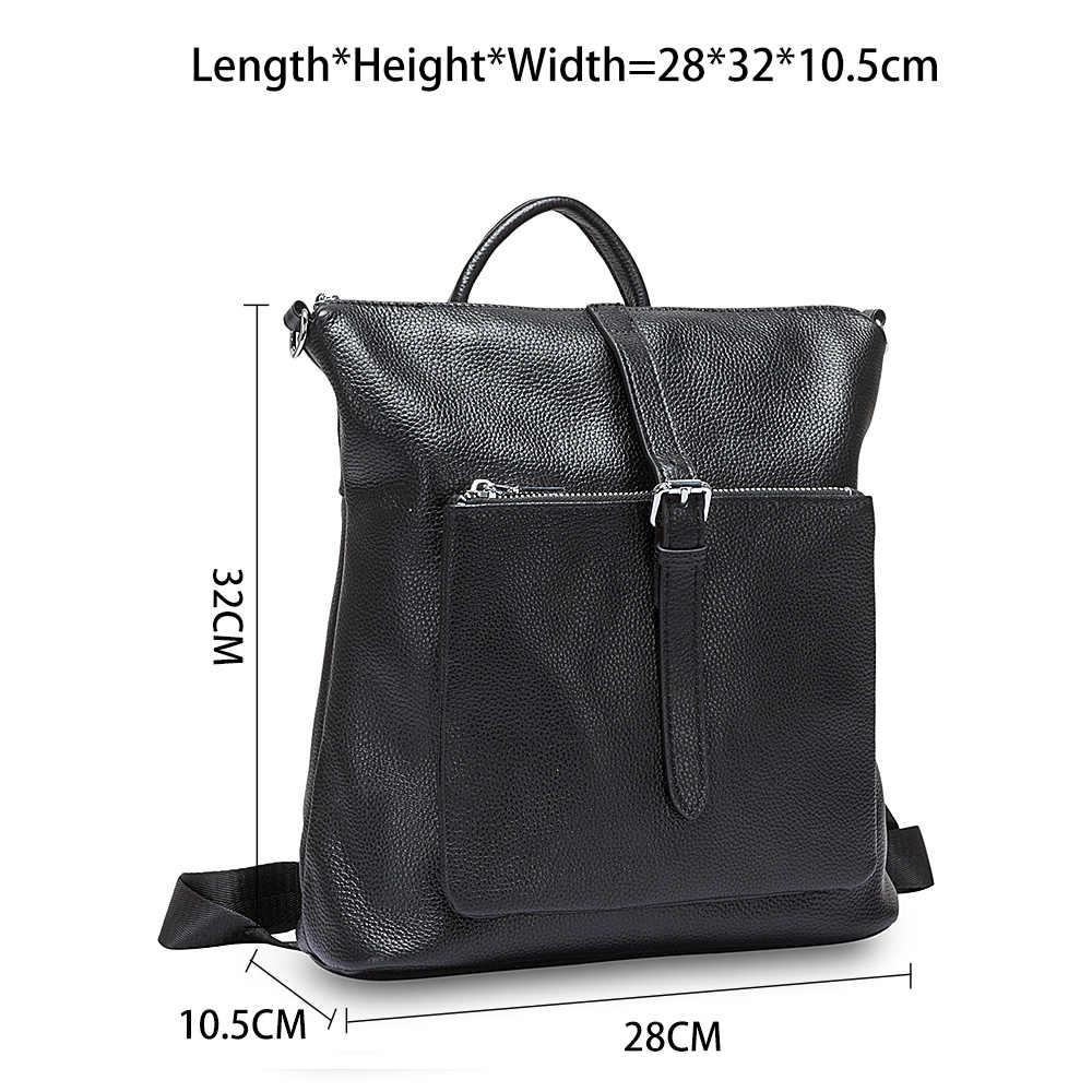 Zency 100% натуральная кожа мягкая кожа Модный женский рюкзак черные дорожные сумки простой женский ранец элегантный дизайн женский школьный