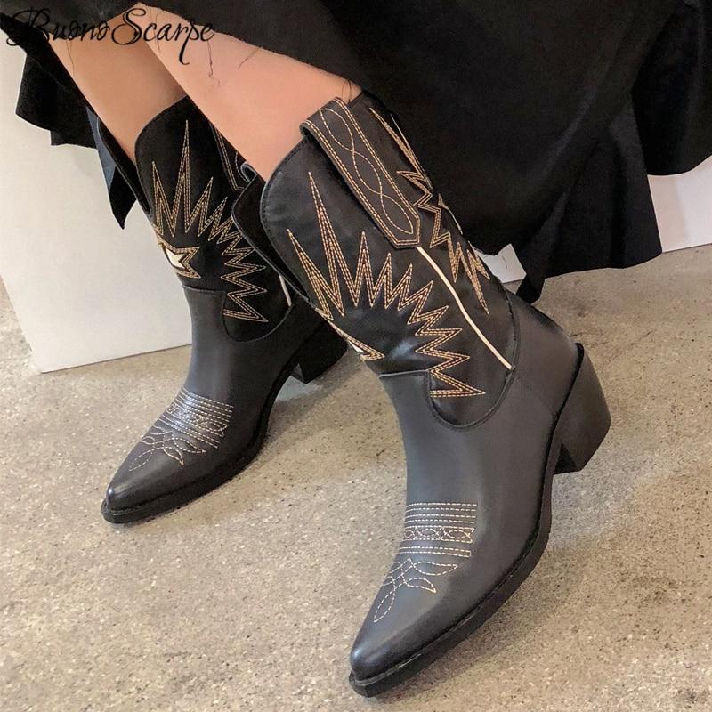 Buono Scarpe طرز النساء الأحذية ميد الكعوب الرجعية فارس الأحذية الإناث جلد طبيعي بوتاس موهير قبعات رعاة البقر الغربية بيع Boots2019-في أحذية منتصف ربلة الساق من أحذية على  مجموعة 1