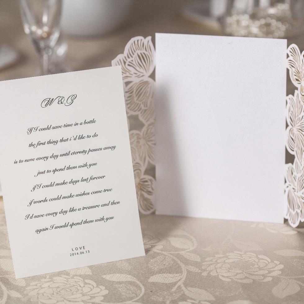 Free Shipping New Flower Pattern Laser Cut Pocket Ivory Wedding ...
