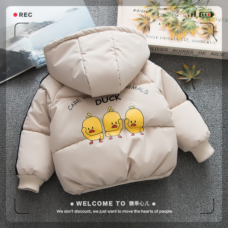 2018 New Winter Fashion Girls Boys Outerwear Coats Yellow Duck Cotton-padded  Jackets Kids Jacket