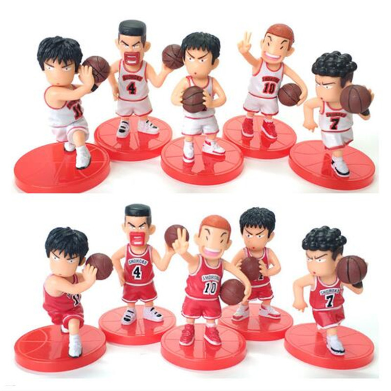5Pcs/Lot SLAM DUNK Shohoku Basketball Player Figures Toys Hanamichi Rukawa Kaede Sakuragi  Anime Model Toys