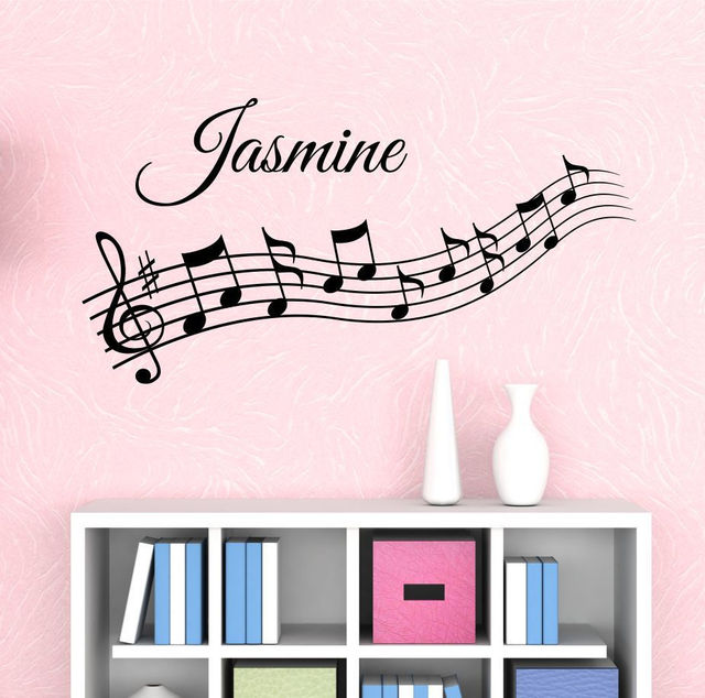e84 music notes custom name wall decal wall stickers girls kids room