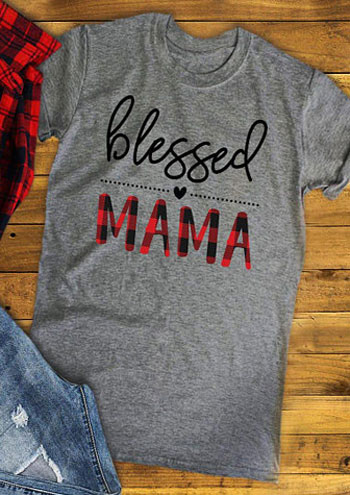 2019 Fashion T Shirt Women Blessed Mama Letter Print Clothes Summer Short Sleeve T Shirt Female Casual Loose Tee Lady Basic Tops