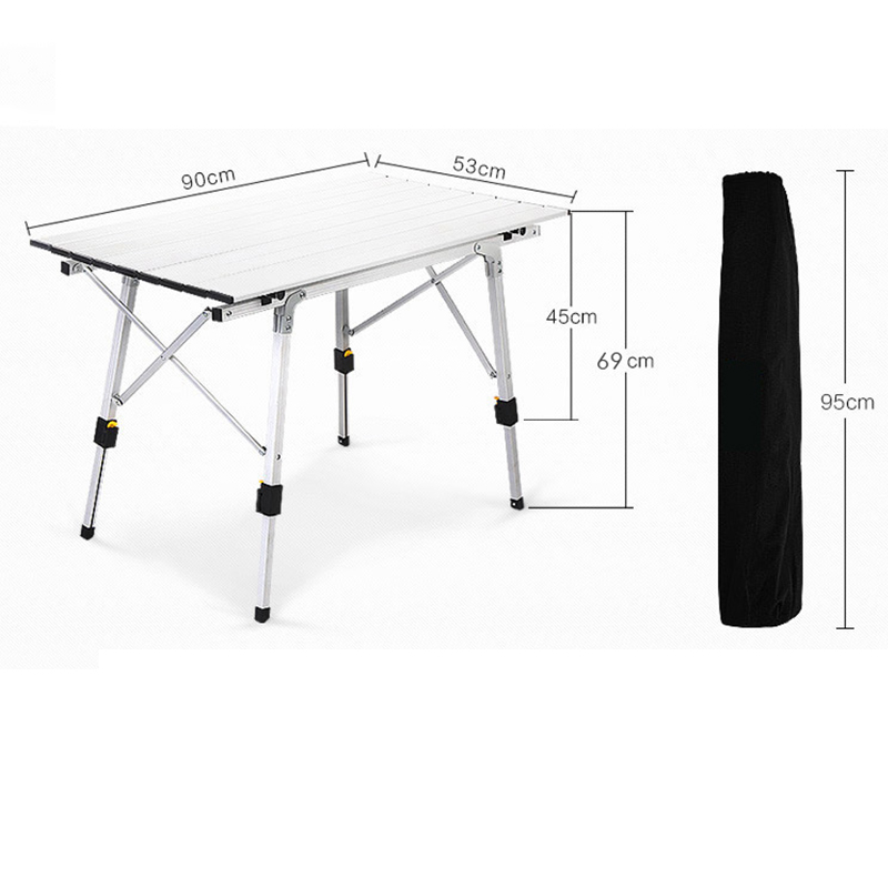 Folding Table Aluminium-Alloy Camping Waterproof for 90--53cm
