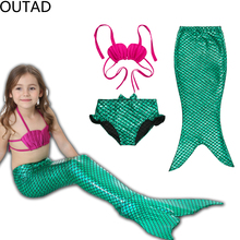 OUTAD 2Y-8Y Girl Mermaid Tail Cosplay Fancy Green Dress Swimmable Bikini Set Kids Bathing Suit Christmas Gift
