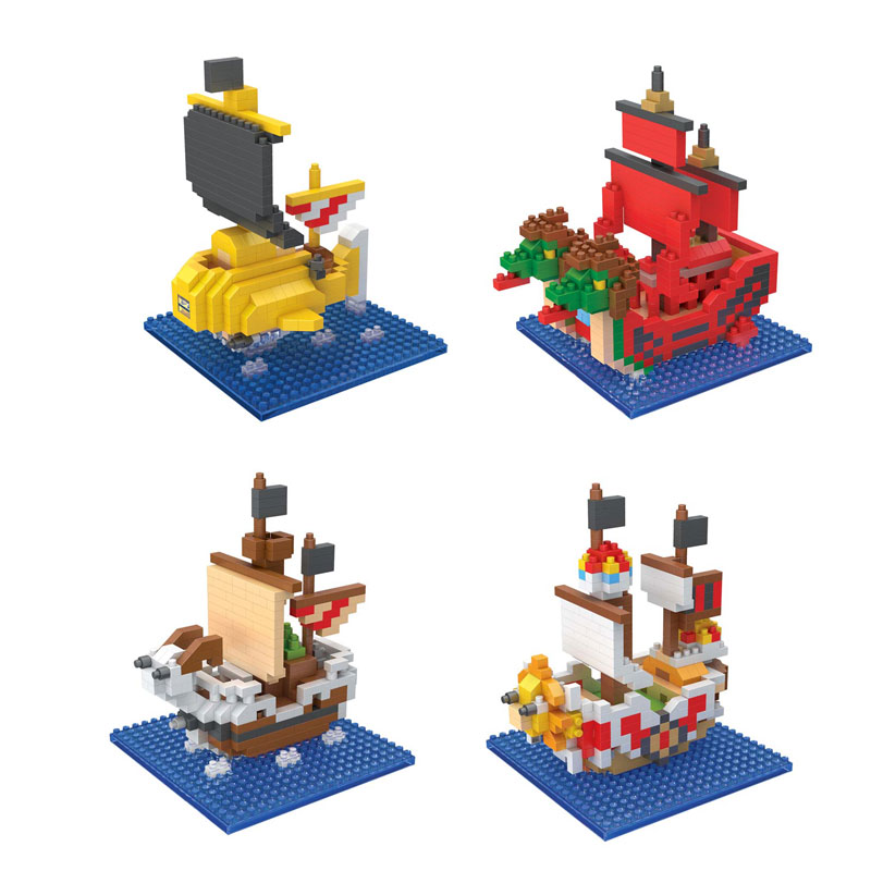 Diamond Building Blocks Anime Figure One Piece Luffy Pirate Ship Model Nano DIY Building Bricks Educational Toys for children