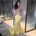 Moda Amarelo Sereia Dresse Noite Longa Sheer Apliques Vestido de Baile Vestido Formal Vestido de festa Robe de soirée longue 2017