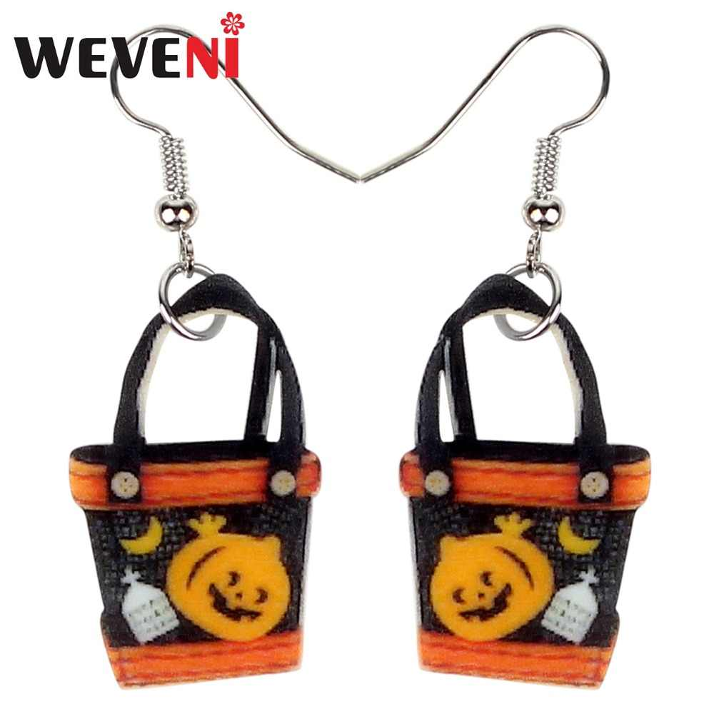 WEVENI Acrylic Happy Halloween Pumpkin Handbag Earrings Drop Dangle Trendy Gift Jewelry For Women Girls Female Gift Wholesale