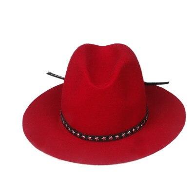 6 шт./партия, Новая модная женская и мужская шерстяная шляпа Fedora войлочная Панама женская элегантная мягкая Шляпа Дерби мягкая фетровая шляпа - Цвет: Red