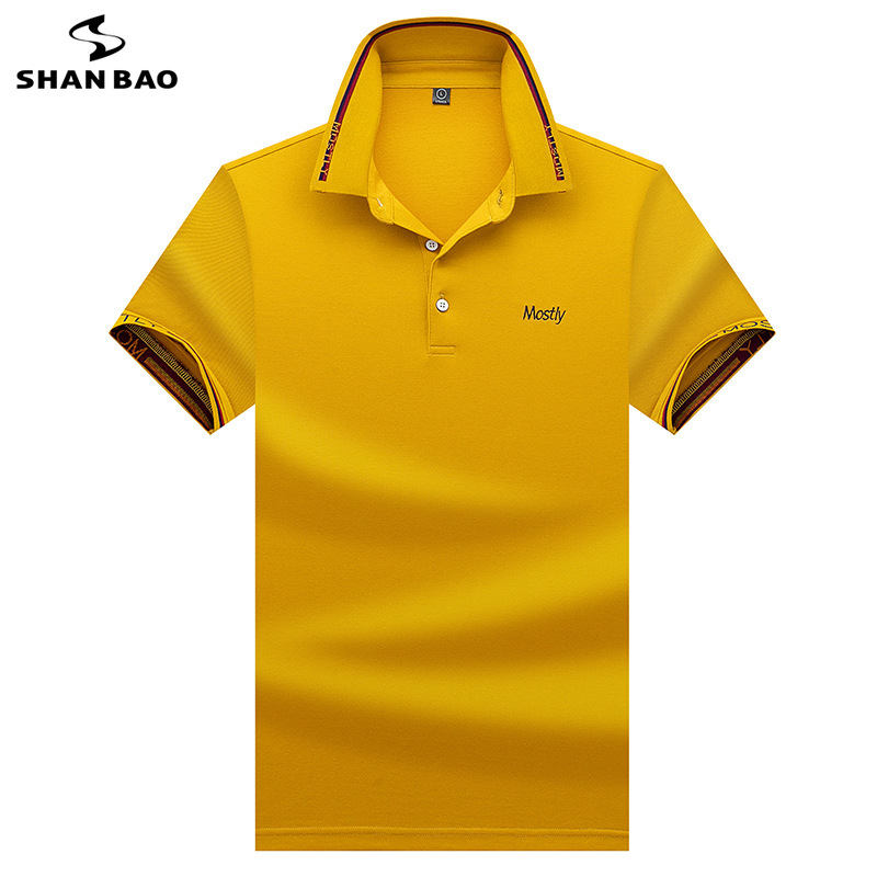 SHANBAO Letter Creative Embroidered Lapel Short Sleeve Polo Shirt 2019 Summer Fashion Solid Color Men's Business Casual Polo