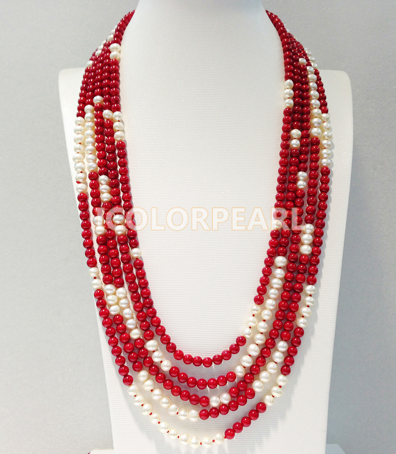 WEICOLOR Five-Strand 65-80CM / Shiny 6-7MM Nearround White Freshwater Pearl And 6MM Round Man-made Red Coral Sweater NecklaceWEICOLOR Five-Strand 65-80CM / Shiny 6-7MM Nearround White Freshwater Pearl And 6MM Round Man-made Red Coral Sweater Necklace