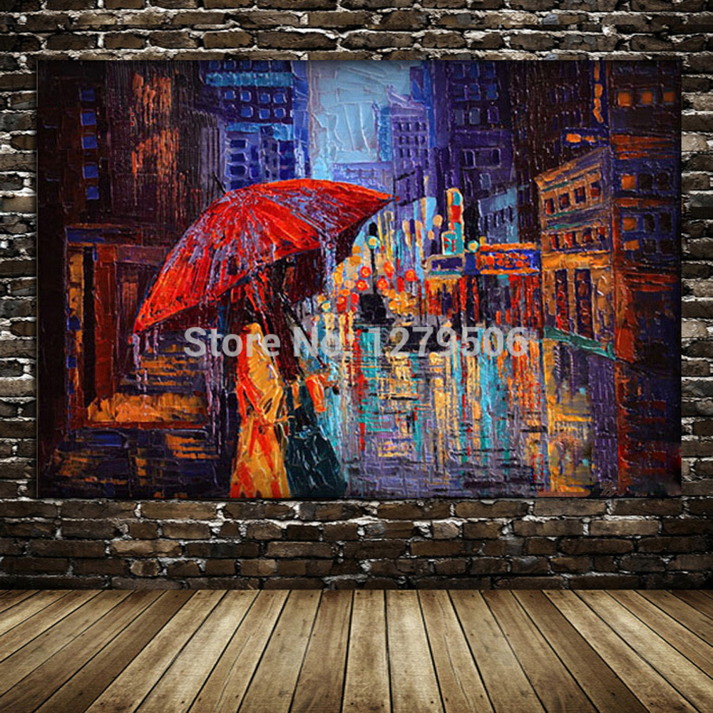 High Quality handmade Canvas Painting Knife Oil Painting Home Decor Quardr Wall Pictures Colorful oil painting Artworks picture in Painting Calligraphy from Home Garden