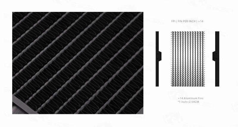 BYKSKI 28mm de espesor cobre + latón 280mm descarga de agua por ordenador líquido Intercambiador de Calor Metal radiador para ventiladores de 140mm G1/4''