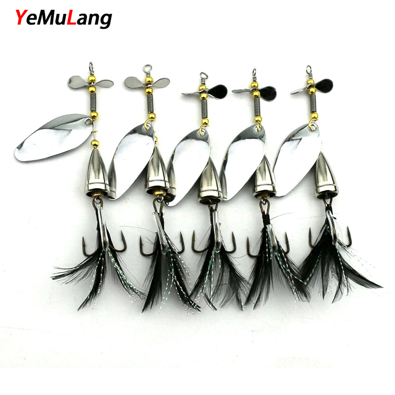 1 pcs Spinner Bait Metal Fishing Lure Double Tail Propeller Hard Baits Trout Carp Catfish Artificial With 6# Feather Hook 30pcs set fishing lure kit hard spoon metal frog minnow jig head fishing artificial baits tackle accessories