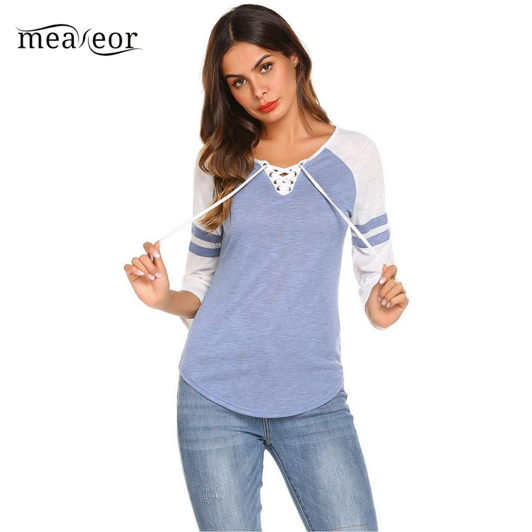 Meaneor Three Quarter Sleeve Women Sleep Tops O Neck Regular Women Sleepwear Shirts Patchwork Raglan Casual Night Wear Lounge