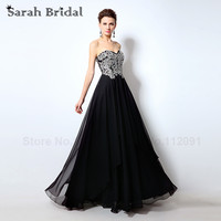 Crystal Lace Vestidos De Noche Sweetheart Evening Dresses 2016 Glamorous A Line Black Chiffon Prom Gowns