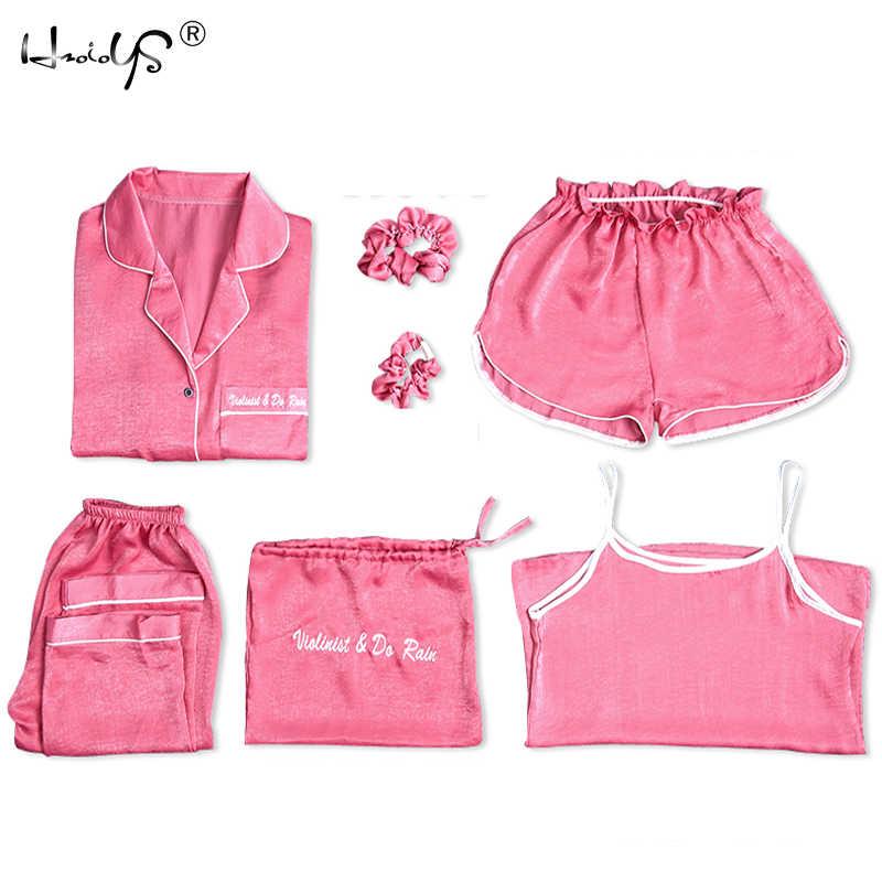 619c26ade9 Womens Silk Pyjamas Set 7 Pieces Set pajamas women autumn winter silk  sleepwear pijama casual comfortable