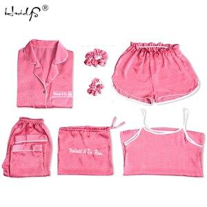 Image 2 - Bayan ipek pijama seti 7 adet Set pijama kadın sonbahar kış ipek pijama pijama rahat rahat bayan ev giyim