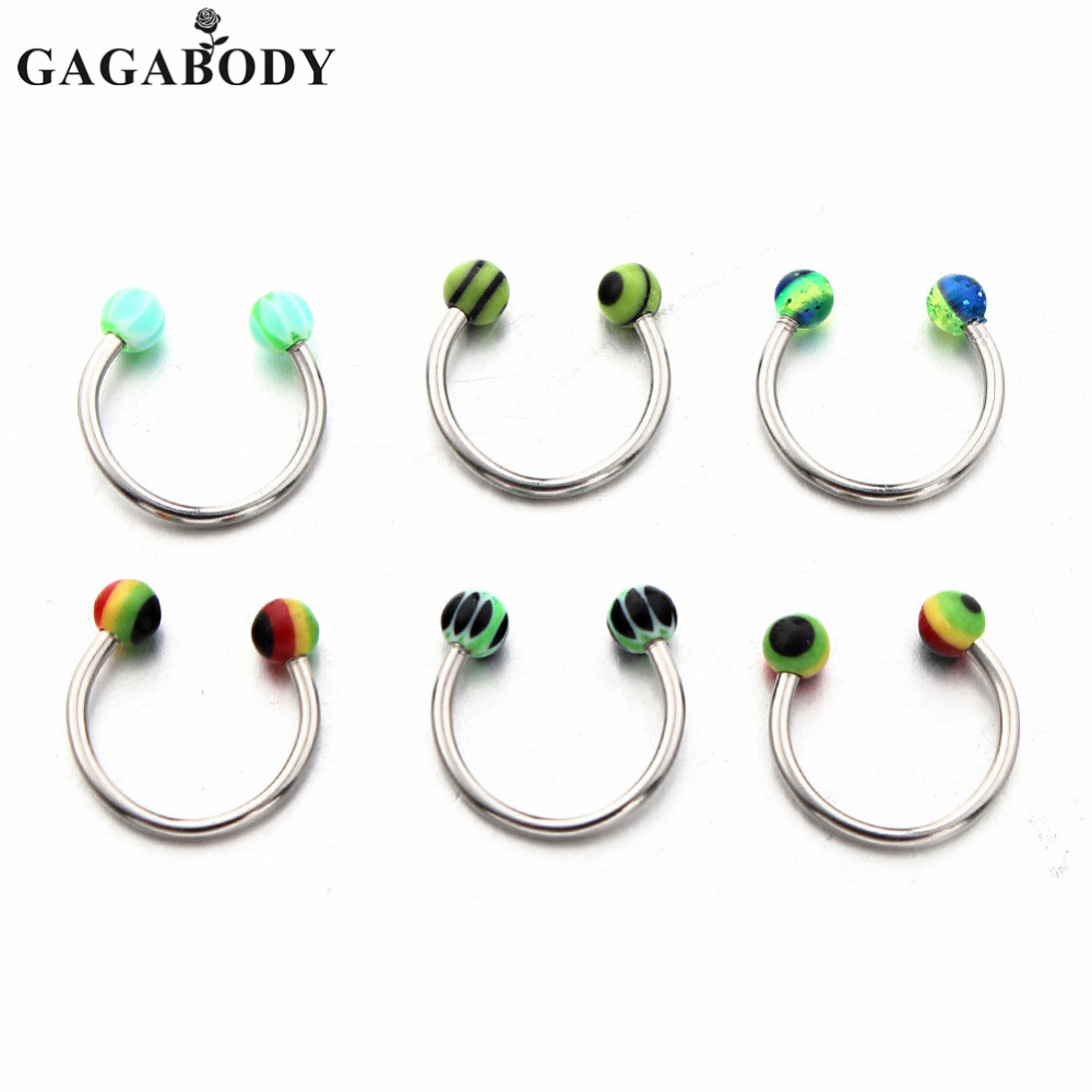 Christmas 6pcs Multicolor Uv Balls Nose Rings Random Mix