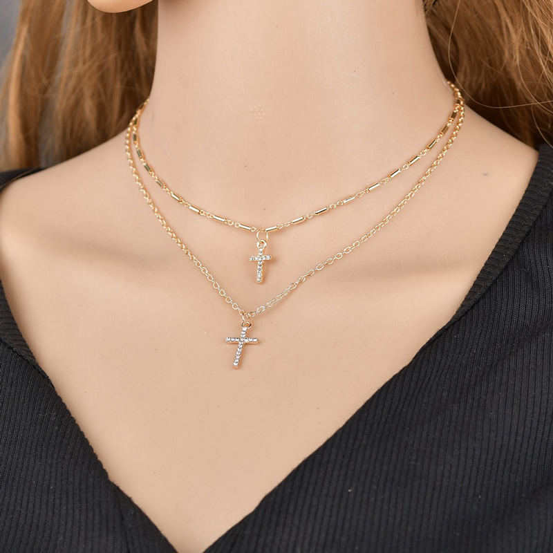 NIUYITID Religion Double Layer Chain With Cross Crystal Pendant Necklace Jesus Men Women Jewelry collier femme 2019 (1)