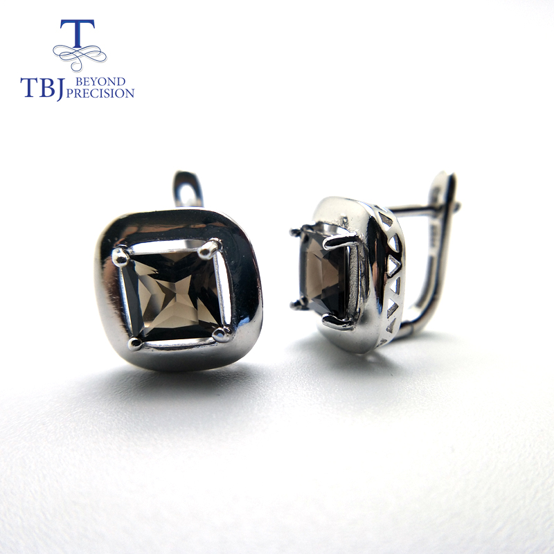 TBJ,Natural smoky quartz clasp earring simple elegant design 925 sterling silver fine jewelry for women wife gift