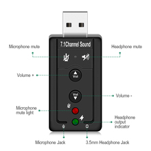 GOOJODOQ External USB AUDIO SOUND CARD ADAPTER VIRTUAL 7.1 ch USB 2.0 Mic Speaker Audio Headset Microphone 3.5mm Jack Converter
