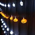 Хэллоуин Строка Свет на батарейках 2 М 10 светодиодов Призрак, тыква, череп батареи гибкий канат огни украшение праздника