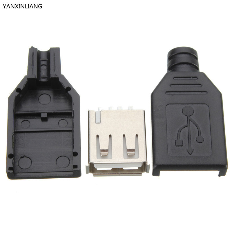 10Pcs Type A Female USB 4 Pin Plug Socket Jack Connector Plug Socket with Black Plastic Cover Seat Welding Wire Adapeter 100pcs right angle 4 pin usb type a standard port female plug jacks connector pcb socket usb a type