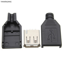 10Pcs Type A Female USB 4 Pin Plug Socket Jack Connector with Black Plastic Cover Seat Welding Wire Adapeter