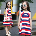 Red White & Blue Striped Girls' Summer Dress 2016 New Kids Girls Clothes Sleeveless Beach Dress Teenage Girl Dresses Vestido