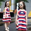 Rojo Blanco y Azul A Rayas Vestido de Verano de Las Muchachas 2016 Nuevos Niños Ropa de Las Muchachas Sin Mangas de la Playa Vestido de Adolescente Vestidos Vestido