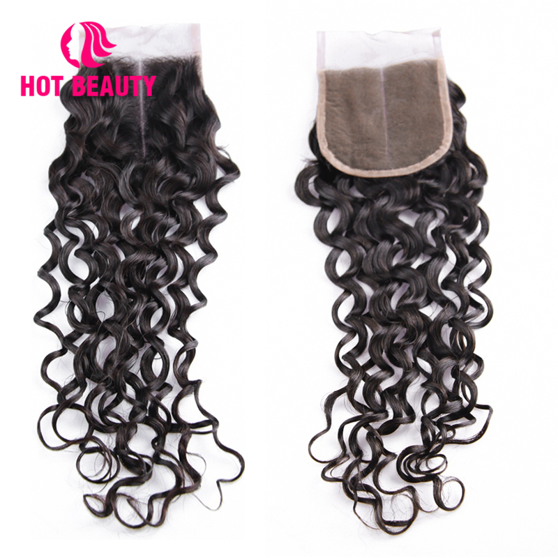 Hot Beauty Hair Lace Closure Brazilian Deep Wave Free Middle Three Part Remy Human Hair 4X4