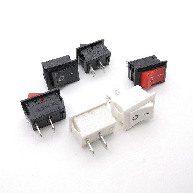 Lot 12Pcs Mini SPST On//Off Rectangle Boat Rocker Switch AC 6A//250V 2Pin Red