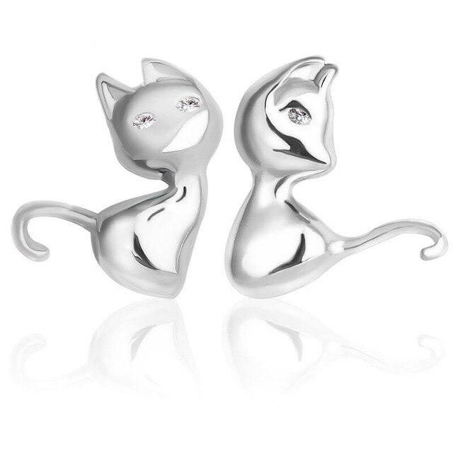 PATICO Cute Cartoon 3D Animal 925 Sterling Silver Cat Stud Earrings for Women Brincos Bijoux Piercing Jewelry