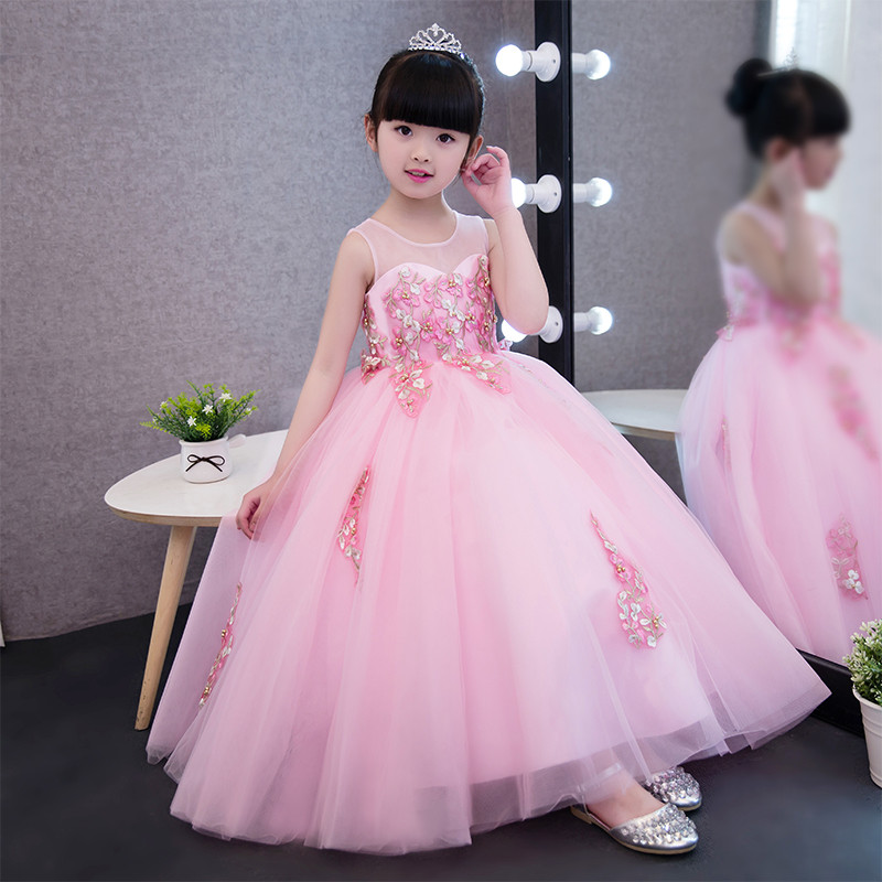2017New Arriving European American Luxury Fashion Girls Wedding Princess Lace Dress Children Kids Embroidery Birthday Long Dress