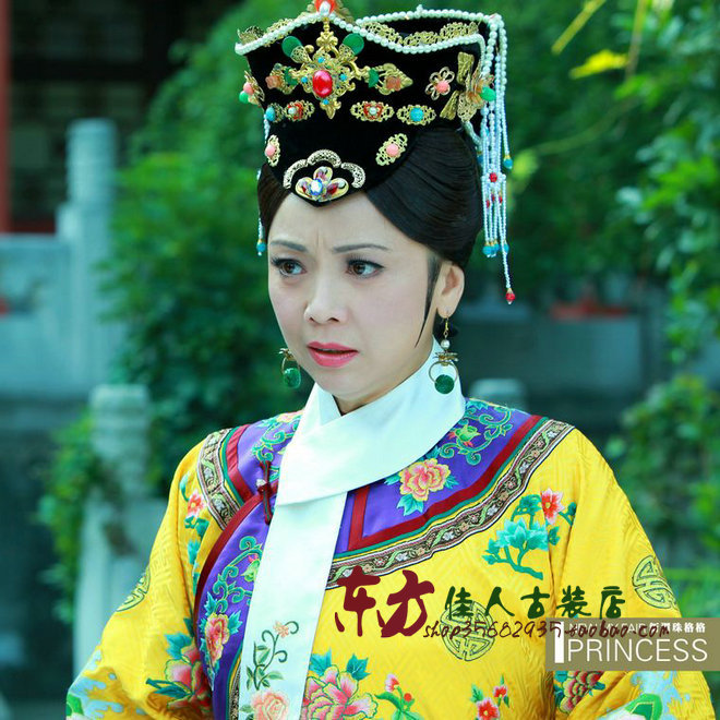 TV Play Princess Huanzhu New Version Empress Costume Yellow Embroidery Extravagent Delicate Qing Dynasty Costume
