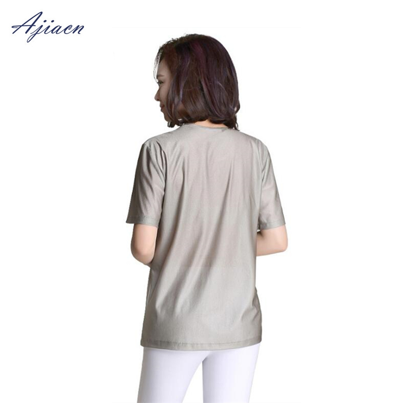 Image 5 - Genuine Electromagnetic radiation protection 100% silver fiber T shirt protect body health EMF shielding short sleeved shirt-in Safety Clothing from Security & Protection