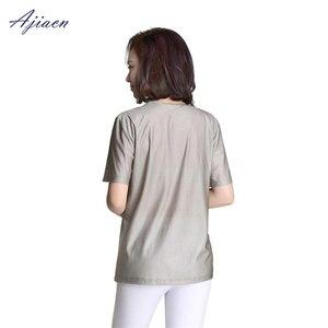 Image 5 - Genuine Electromagnetic radiation protection 100% silver fiber T shirt protect body health EMF shielding short sleeved shirt