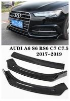 High Quality ABS /Carbon Fiber Car Front Lip Splitters Bumper Aprons Cup Flaps Spoiler Fits For AUDI A6 S6 RS6 C7 C7.5 2017 2019