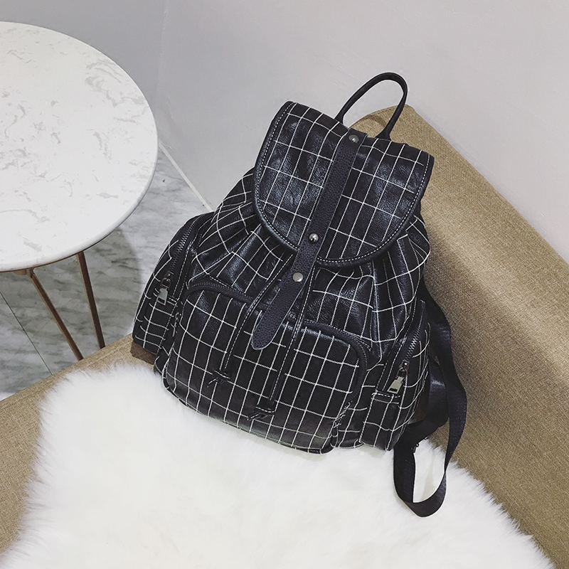2018 New Fashion PU Leather Women Plaid Backpack School Bags for Teengager Girls mochila Feminime Backpack Bucket Bags S153 caker 2018 fashion pu leather women backpack brand drawstring shoulder bags for teenage girls mochila feminime backpack