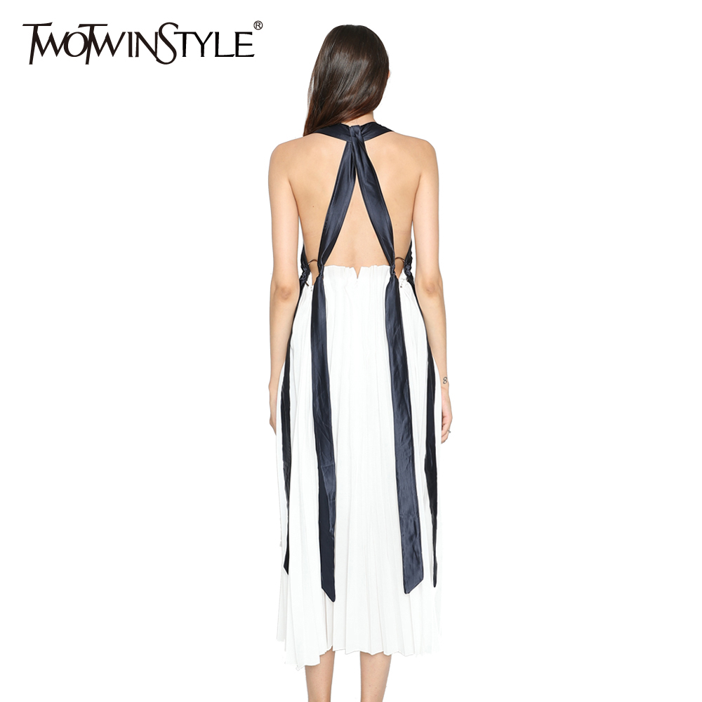 TWOTWINSTYLE 2017 Summer Women Backless Lace up Halter Midi Dresses Female Sexy Beach Spaghetti Strap Pleated Clothes Big Size