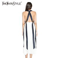 TWOTWINSTYLE 2017 Summer Women Blackless Lace Up Halter Midi Dresses Pleated Spaghetti Strap Female Sexy Beach